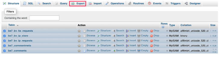 Export option for database
