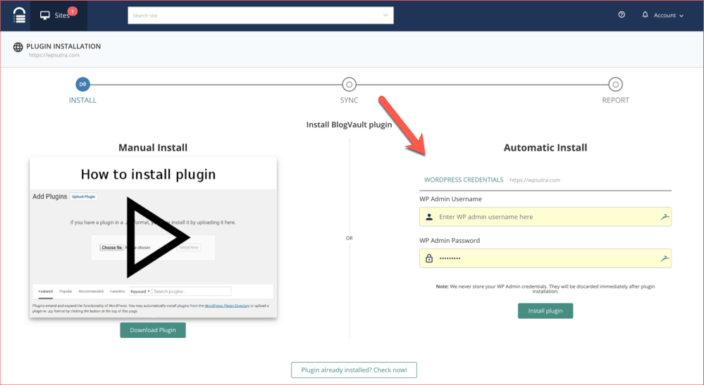 Install BlogVault plugin